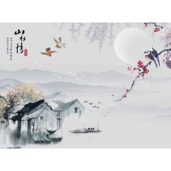 Papier peint d'artiste peinture à l'encre de Chine - Village de pêcheur dans la nuit
