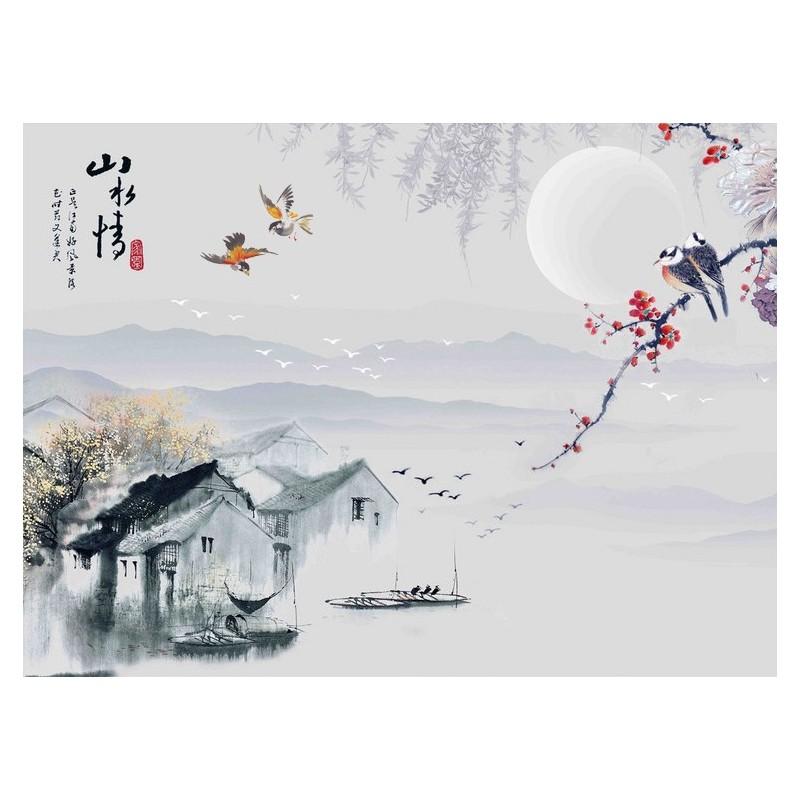 tapisserie murale toffe de soie papier peint chinois en textile en un seul morceau village de. Black Bedroom Furniture Sets. Home Design Ideas