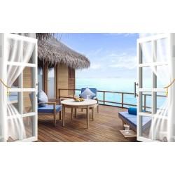Paysage vue mer trompe l'œil 3D - Sur le balcon d'une maison avec le toit en paille