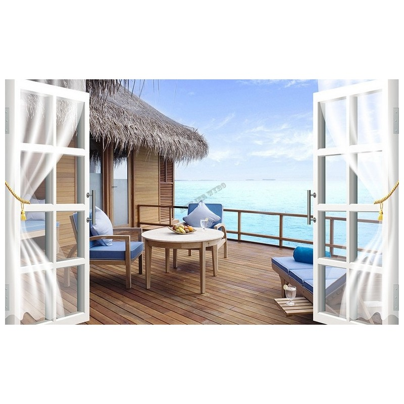 design 3d papier peint intiss panoramique sticker mural photo trompe l il balcon vue mer. Black Bedroom Furniture Sets. Home Design Ideas