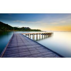 Paysage trompe l'œil 3D - Pont en bois sur le lac au coucher du soleil