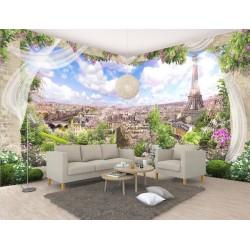 Papier peint romantique trompe l'œil 3D - Paysage magnifique de Paris