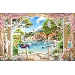 Paysage romantique trompe l'œil 3D - Villas au bord du lac - Extension d'espace