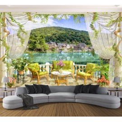 Papier peint vintage trompe l'œil 3D - Paysage du lac vue sur le balcon - Extension d'espace