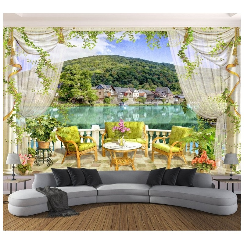 papier peint d 39 artiste tapisserie vintage trompe l 39 oeil 3d paysage du lac vue sur le balcon. Black Bedroom Furniture Sets. Home Design Ideas