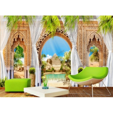 papier peint intiss trompe l 39 oeil 3d poster g ant xxl paysage de l 39 oasis les pyramides. Black Bedroom Furniture Sets. Home Design Ideas