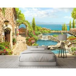Papier peint d'artiste paysage - Maison en pierre au bord de l'eau