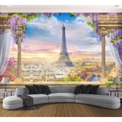Papier peint d'artiste paysage romantique trompe l'œil 3D - La tour Eiffel