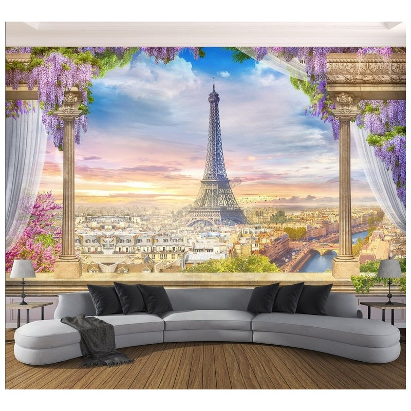 tapisserie murale soie paysage fantaisie papier peint 3d panoramique xxl la tour eiffel. Black Bedroom Furniture Sets. Home Design Ideas
