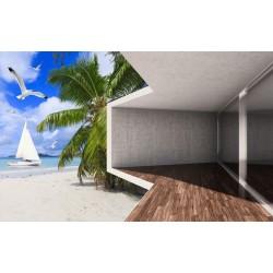 Papier peint photo trompe l'oeil 3D - Maison d'architecte au bord de la mer