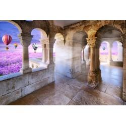 Papier peint photo trompe l'œil 3D - Château dans le champ de fleur violette avec les montgolfières