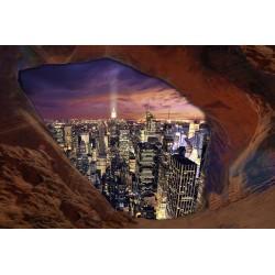 Papier peint photo trompe l'œil 3D trou dans le mur - New York dans la nuit