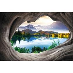 Papier peint photo trompe l'œil 3D trou dans le mur paysage nature - Le lac