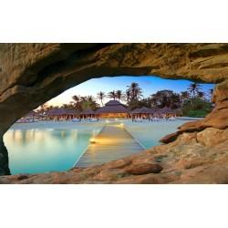 Papier peint photo trompe l'œil 3D trou dans le mur paysage tropical - Le soir à la plage