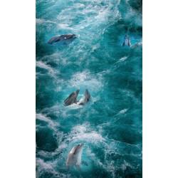 Revêtement sol trompe l'œil 3D paysage océan - Les dauphins dans les vagues