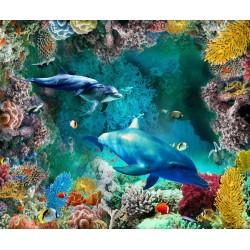 Revêtement sol trompe l'œil 3D paysage fond marin - Les dauphins et les coraux colorés