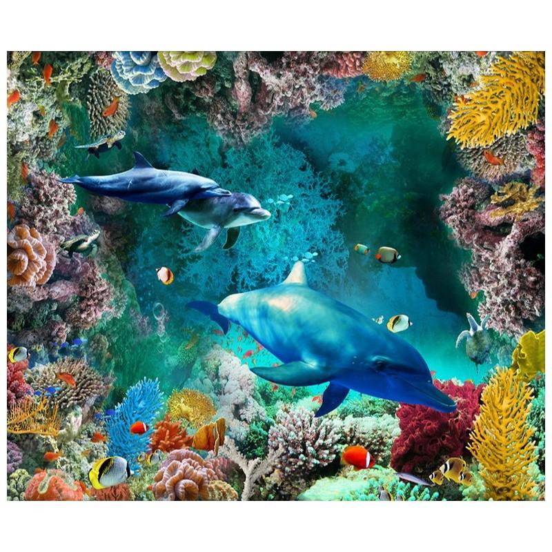 rev tement sol pvc vinyle trompe l 39 il 3d paysage fond marin les dauphins et les coraux. Black Bedroom Furniture Sets. Home Design Ideas