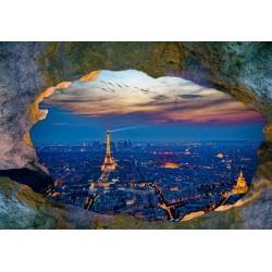 Papier peint photo paysage trompe l'œil 3D trou dans le mur - Paris dans la nuit