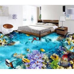 Revêtement de sol trompe l'œil 3D paysage fond marin - Les poissons et les coraux colorés