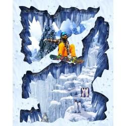 Revêtement de sol trompe l'œil 3D spécial magasin de ski - La montagne enneigée