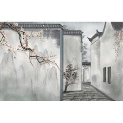 Peinture à l'encre de Chine ton gris ambiance zen - Maison traditionnelle chinoise