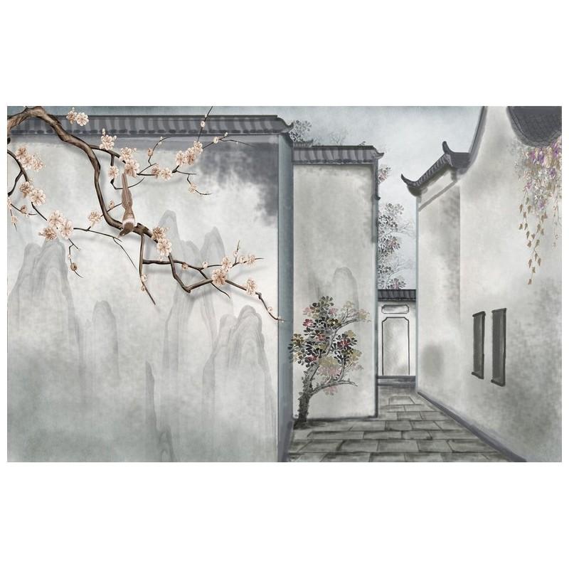 Tapisserie asiatique zen toffe soie papier peint intiss chinois ton gris maison traditionnelle - Maison de la chine boutique ...