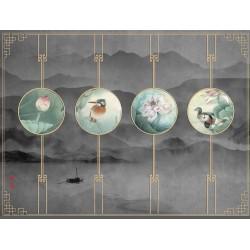 Papier peint japonais zen - Paysage gris foncé avec les lotus et les oiseaux