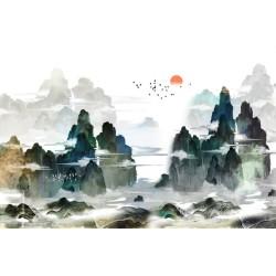 Papier peint japonais - La montagne dans les nuages au lever du soleil