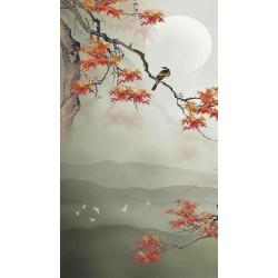Tapisserie zen format vertical - L'érable et les oiseaux dans la nuit