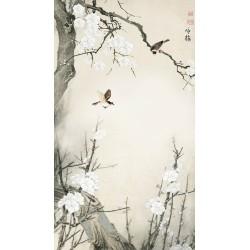 Tapisserie asiatique zen fleurs et oiseaux format vertical - Les fleurs de Mei et les oiseaux