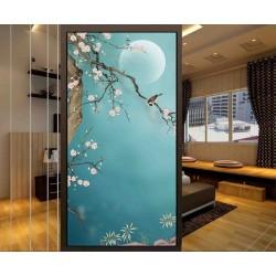 Tapisserie asiatique zen fleurs et oiseaux format vertical - Les fleurs de Mei et les oiseaux sur fond bleu