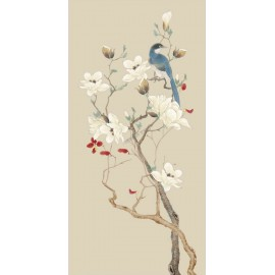 Tapisserie asiatique zen fleurs et oiseaux format vertical - Le magnolias et l'oiseau bleu sur fond beige