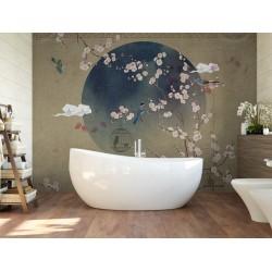 Tapisserie japonaise zen fleurs et oiseaux - Les fleurs de pêcher et les oiseaux