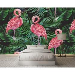Papier peint tropical - Les flamants roses et les palmiers
