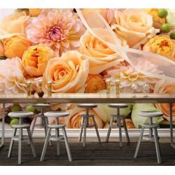 Décor floral papier peint photo romantique - Les fleurs oranges