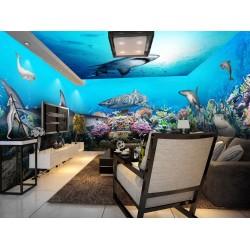 Décoration murale grand panoramique paysage fond marin - Les requins et les coraux