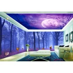 Décor mural XXL paysage fantaisie - Les animaux dans la forêt à la pleine lune
