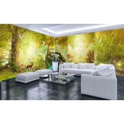 Décoration murale grand panoramique paysage fantaisie - Petit pont dans la forêt d'automne