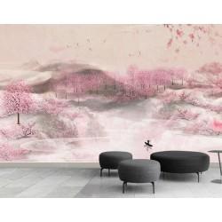 Papier peint asiatique aspect ancien tapisserie florale romantique - La forêt de pêcher dans la colline