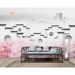 Papier peint chinois zen - Maison traditionnelle avec les fleurs de pêcher