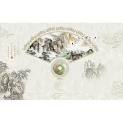 Papier peint asiatique - Paysage zen et l'éventail avec pendentif en jade, effet sur marbre