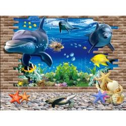 Papier peint trompe l'oeil 3D - Paysage fond marin - Dauphins 005