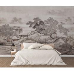 Peinture asiatique zen ton gris aspect ancien - Maison sous la neige