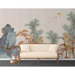 Papier peint japonais - Les arbres d'automne