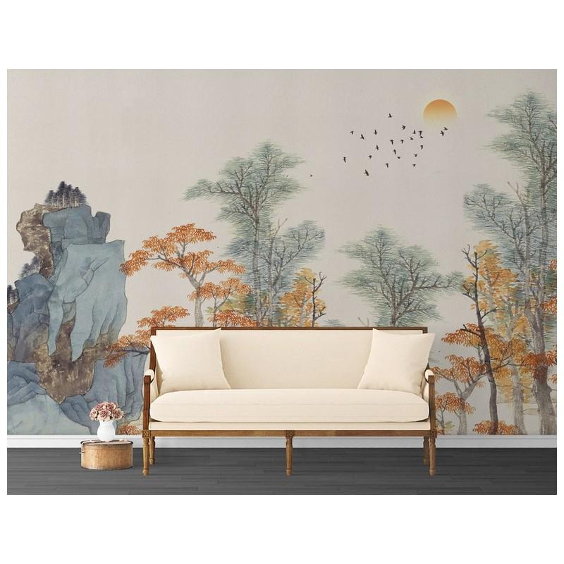 d coration murale par peinture japonaise tapisserie soie en un seul morceau les arbre d 39 automne. Black Bedroom Furniture Sets. Home Design Ideas