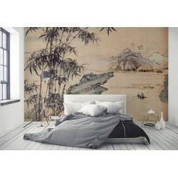 Papier peint japonais aspect ancien - Les bambous au pied d'un rocher