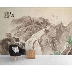 Peinture asiatique ancienne tapisserie zen style sépia - La grande chute d'eau