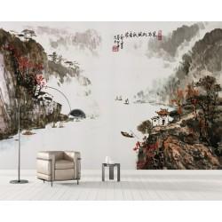 Peinture à l'encre de Chine paysage d'automne - La rivière dans la vallée