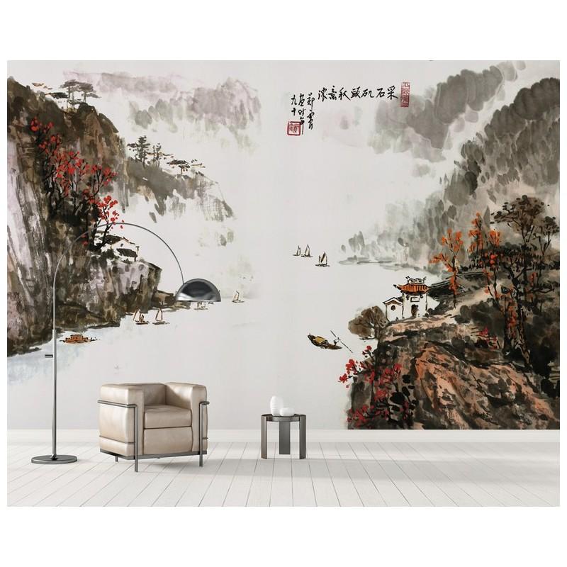 peinture l 39 encre de chine sticker mural zen xxl paysage d 39 automne la rivi re dans la vall e. Black Bedroom Furniture Sets. Home Design Ideas