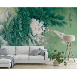 Tapisserie florale papier peint asiatique fleurs et oiseaux - La glycine et l'oiseau blanc